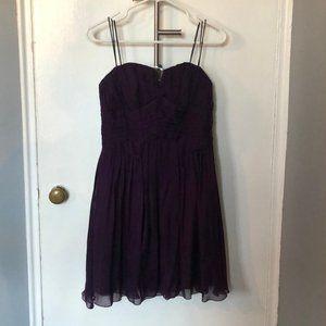 Purple Silk Strapless Mini Dress